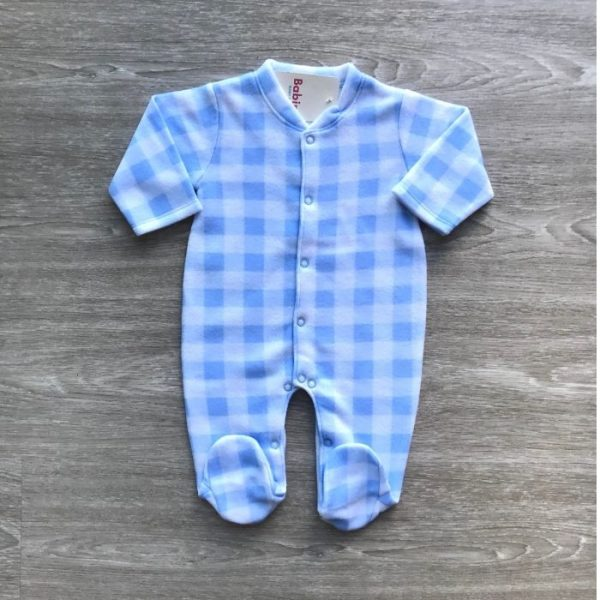 Pijama Enteriza Cuadros Azul Claro