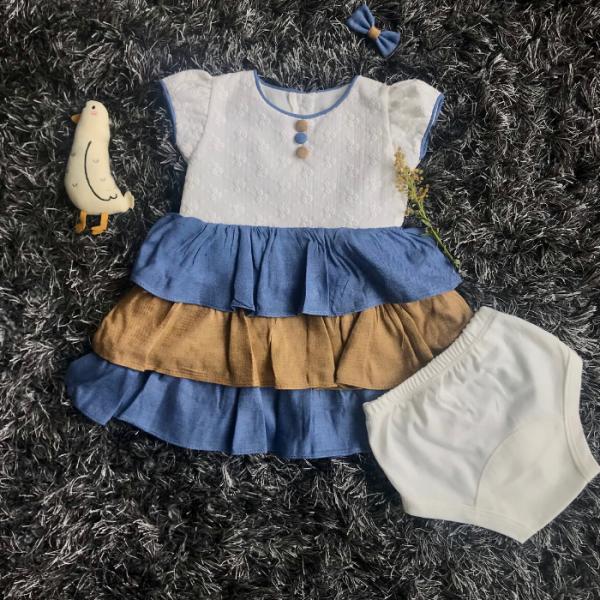 Vestido Falda Azul y Café