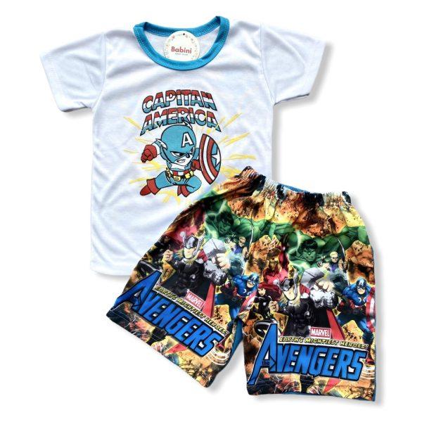 camiseta y pantaloneta avengers niños