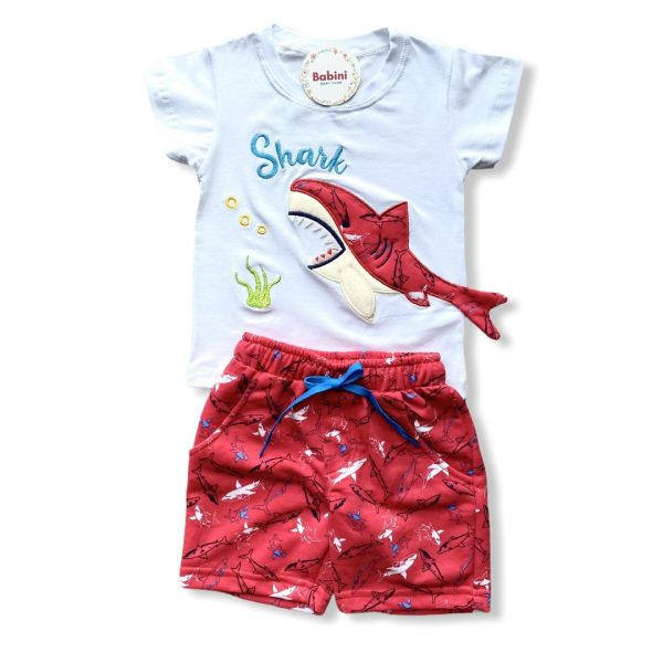conjunto tiburon camiseta pantaloneta para niños