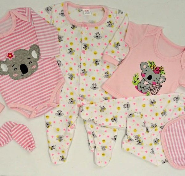 kit de bienvenida bebe koala rosado
