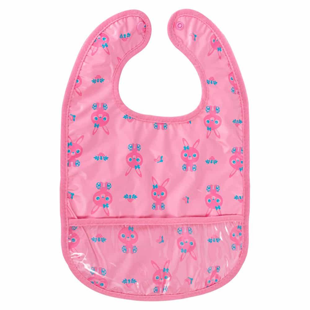 Babero plástico con bolsillo rosado conejo