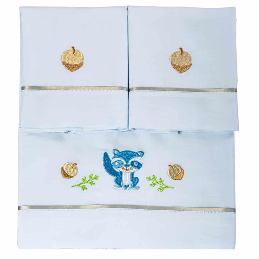 Juego de sábanas para cuna azul
