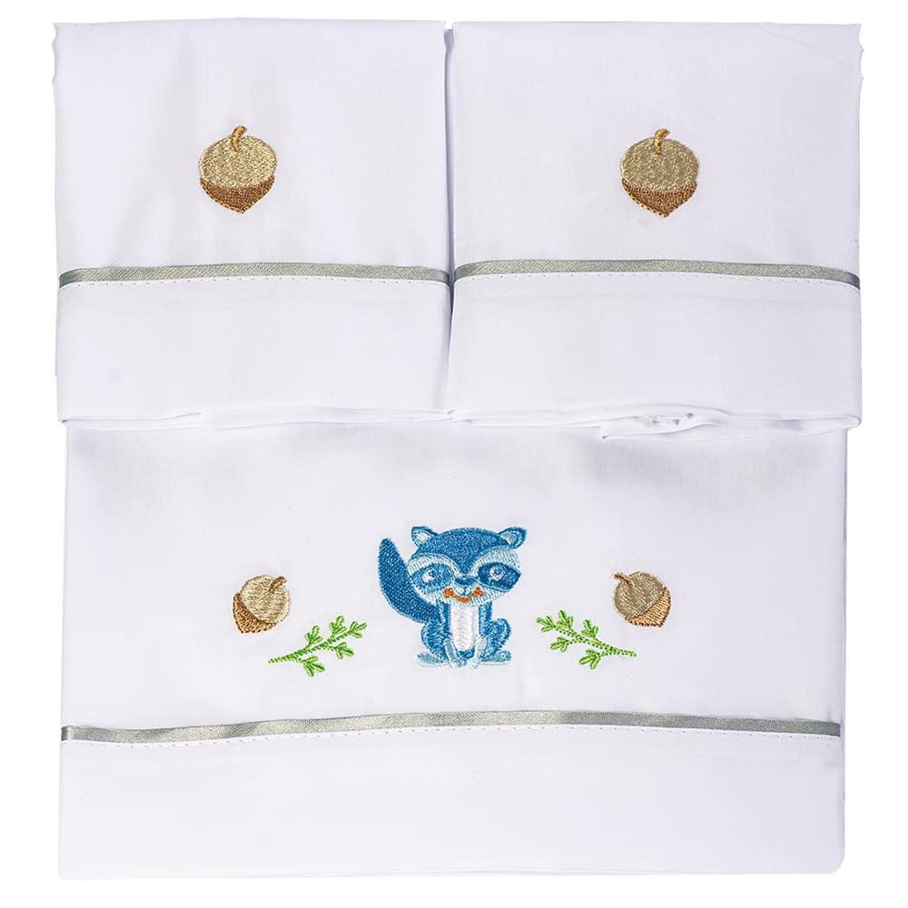 Juego de sábanas para cama corral blanca