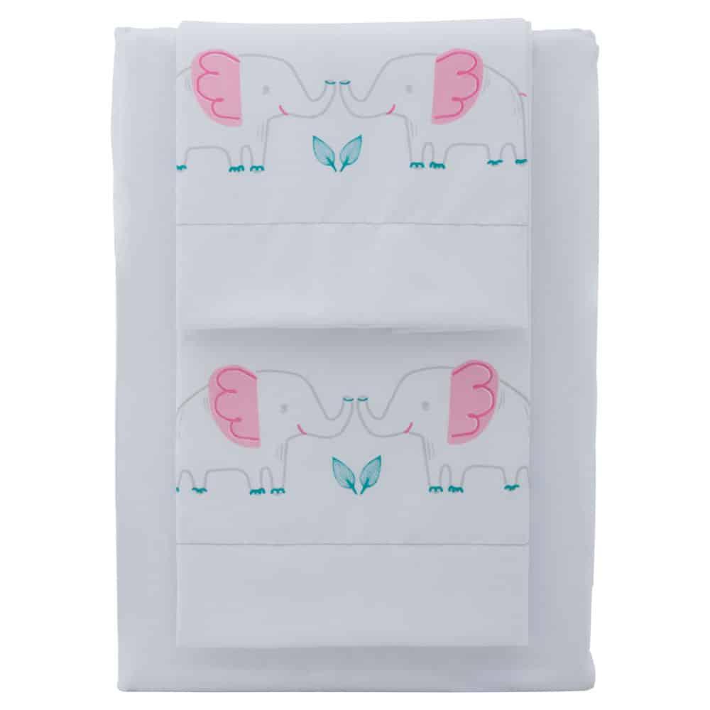 Juego de sábanas estampadas para cuna elefante rosado