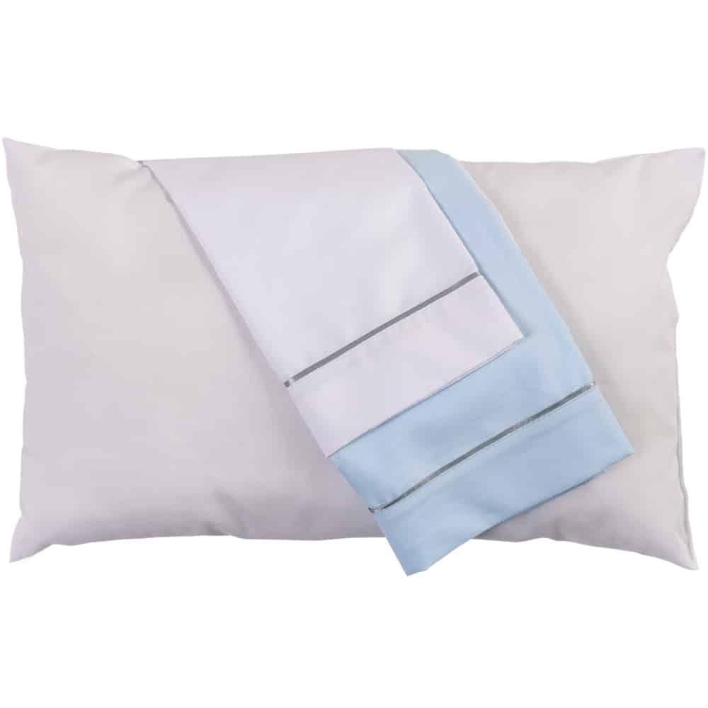 Set de almohada y funda Blanca y Azul Celeste